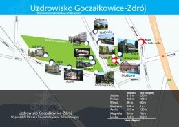 Uzdrowisko Goczałkowice Zdrój - Mapka rozmieszczenia budynków - sanatoria.org